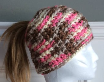 Crocheted messy bun/ponytail hat