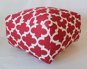 Square Floor Cushion Pouf / Red Pillow / Square Ottoman / Meditation cushion / Floor Pillow / Square Cushion / Box cushion / Nicole Pouf