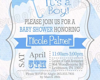 Printable Baby Shower Raining Umbrella Invitations - Custom Printable BOY OR GIRL