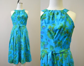1960s Turquoise Floral Halter Dress