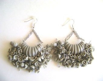 Gray Chandelier Earrings. Polymer Clay Earrings. Made-to-Order