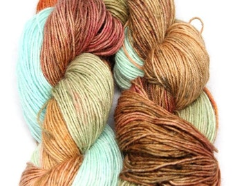 Brown - Turquoise Blue - Blue Faced Leicester 50,  Baby alpaca 50