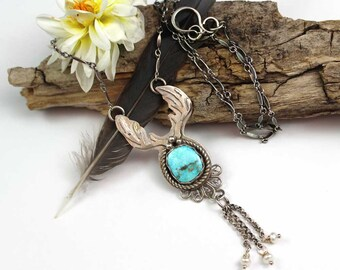 Noble Stag Kingman Turquoise Cabochon Sterling Silver Pendant Necklace, rustic, artisan, metalwork, handmade, boho, gypsy