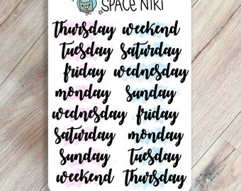 Day of the week planner - bullet journal stickers