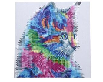 Colorful Cat Diamond Cross Stitch DIY Kit Rhinestone Mosaic Canvas Painting Home Wall Decor 30 x 30cm