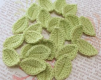 Crochet Leaves - Wasabi Leaf Appliques - You Choose How Many