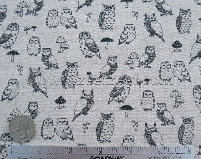 Tiny OWLS CANVAS Oatmeal Black Linen Echino Decoro Japanese Fabric Import - Lightweight Canvas Japan PA-29700-700A by Etsuko Furuya