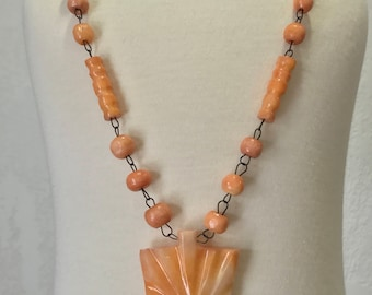 Sale!!! Vintage 1950's Peach Coral Art Deco Glass bead Necklace-FREE SHIPPING