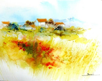 """Landscape watercolor """"field of poppies at the foot of canigou"""""""