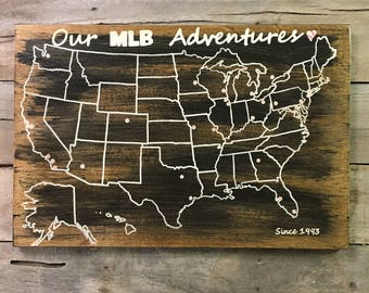 Baseball Travel Map | US Wood Map | USA Travel Map | MLB | Personalized | Pin Map |  Map with pins | United States Map | Rustic