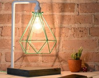 Mint Desk Lamp White Pipe Wood Base  Diamond Cage Modern Lamp White Desk Light