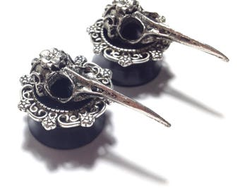 Plugs with bird skulls, Ear plugs with filigree, silver plugs (12mm, 14mm, 16mm, 18mm, 20mm , 1/2″, 9/16″, 11/16″, 13/16″)