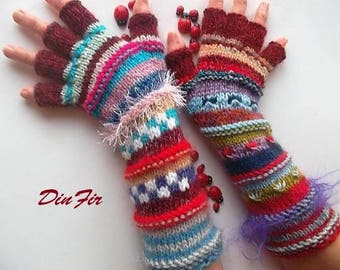 Women Size M 20% OFF Half Fingers Wool OOAK Ready To Ship Mittens Wrist Warmers Winter Arm Gloves Hand Knitted Gift Striped Multicolor 1244