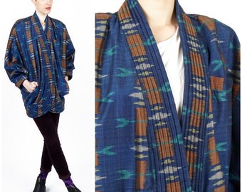 Vintage Women's Oversized Blue Ikat Kimono Bat Wing Open Jacket Coat by Gego | Small Medium Large