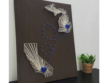 Two State String Art - Florida Wall Art - Oregon Wood Sign - String Art - State Hearts - State String Art - State Shape Decor - State Shapes