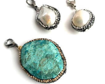 """Pearl Necklace with Removable Pendant, Freshwater Pearl, Turquoise, Crystal, 17"""""""