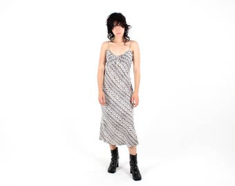 90s Black + White Abstract Floral Print Spaghetti Strap Midi Grunge Slip Dress