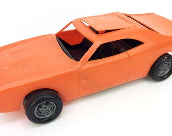 The Dukes of Hazzard General Lee Orange Plastic Toy Car W/ No Stickers Warner Bros 1980