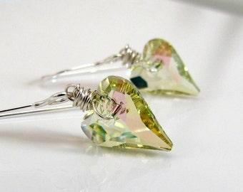 Mint Green Crystal Earrings, Green Heart Earrings, Light Green Crystal, Swarovski Heart Earrings, Sterling Silver Wrapped Handmade