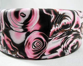 Mokume Gane Polymer Clay Cuff in Pinks and Black