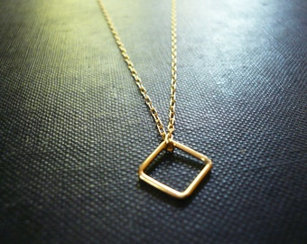 Tiny Gold Diamond or Square Necklace in Gold Filled - Simple Gold Necklace, Sweet Everyday Dainty Necklace