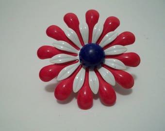 Vintage Enamel Red White & Blue Floral Pin
