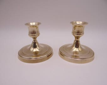 Vintage Pair of Solid Brass Candlesticks Candle Holders