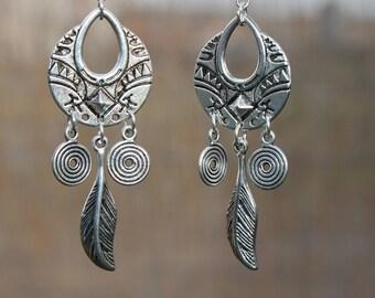 Silver Earrings Boho Earrings Bohemian Earrings Long Boho Jewelry Chandelier Earrings Gypsy Earrings Ethnic Bohemian Jewelry Gift for women