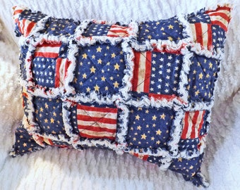 Rag Quilt Travel Pillow - Small Pillow - Patriotic Travel Pillow - Pillow Sham with Insert - Flag Pillow