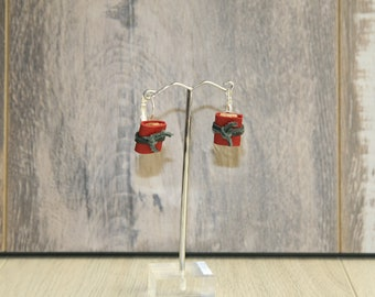 Upcycled Leather drop earrings