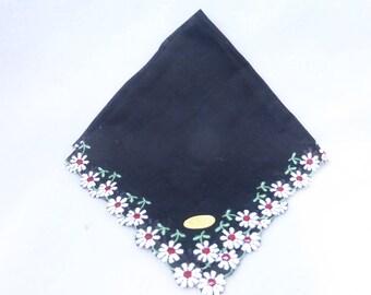 Vintage Mid Century Handkerchief Black with Embroidered Daisies  Unused