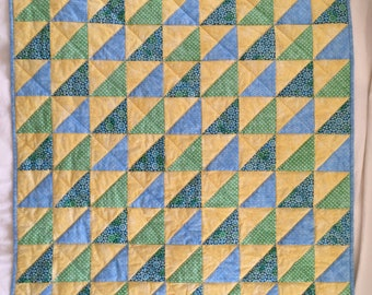 Baby Crib Quilt in Yellow, Blues and Greens
