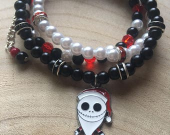 Pearl Wrap Bracelet with Jack Skellington Charm / Black, White and Red Beads / Three Layers  / Necklace / Nightmare Before Christmas
