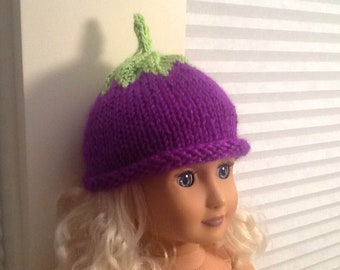 "Cute Little Purple Egg Plant or Purple Berry Hat for an American Girl Doll AG or any 18"" Doll at NeedlesandPins"