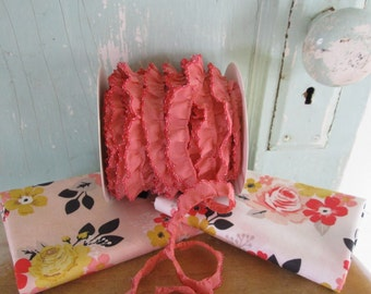 New Red on Dusty Rose Crochet Edge Trim No400. PInk Fabric.  Red Fabric.  Red Trim.  Pink and Red.  Red Ruffle Trim.  Lace.