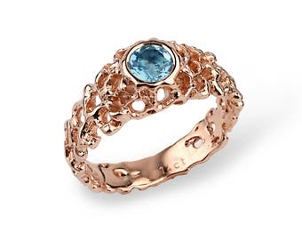 CORAL Swiss Blue Topaz Engagement Ring, Rose Gold Blue Topaz Ring, Rose Gold Engagement Ring, Solitaire Ring, Anniversary Ring,