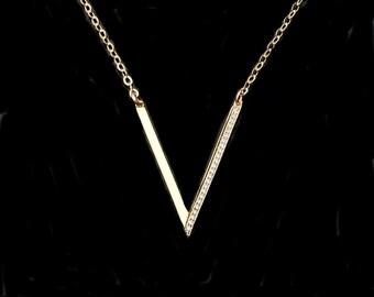 V Necklace, CZ V necklace, Triangle Necklace, Celebrity Necklace Gold or Silver++