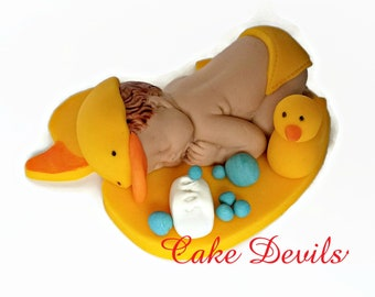 Sleeping Baby Duck Fondant Cake Topper, Rubber Ducky Baby Shower Decoration, Handmade Edible, Duck Cake Decorations, Rubbery Ducky Baby Cake