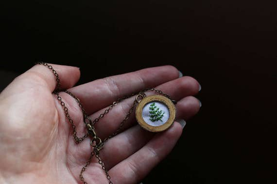 Fern- hand embroidered necklace, white, botany, plant life, fern, simple, leaf