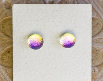 Dichroic Glass Earrings , Petite, Golden Violet DGE-1412