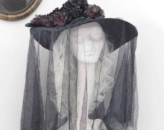Black Mourning Hat Veil Ribbon Flowers