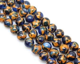 Sapphire Blue, Golden Pressed Jade, Round  Beads, Jade Beads, 6 8 10 12mm, (OB031)