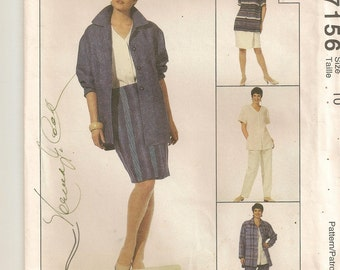"A Jones New York Long Jacket, Top, Straight Wrap Skirt and Pants Separates Pattern for Women: Uncut - Size 10, Bust 32-1/2"" ~ McCall's 7156"