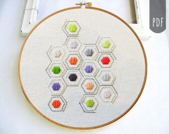 PDF Hand Embroidery Pattern Geometric Hexagons