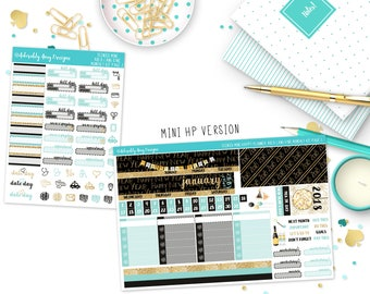 Teenies January Auld Lang Syne New Year's Monthly View Planner Sticker Kit for Mini Happy Planner or Basic Most Mini Size Planner