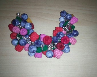 berry bracelet made of polymer clay
