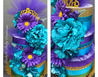 Princess Diaper Cake,purple, turquoise and Gold Diaper Cake,Unique Baby Shower Centerpiece,Girl Baby Gift