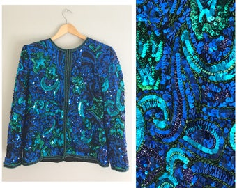 Gorgeous blue and green sequin beaded jacket , large sequin jacket , beaded jacket , vintage sequin jacket , vintage beaded jacket
