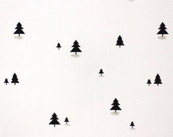 Fabric, Christmas, black trees, white, gold