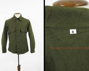 Vintage 50s Military Jac Shirt NOS Deadstock Olive Green Field Shirt Wool - Medium